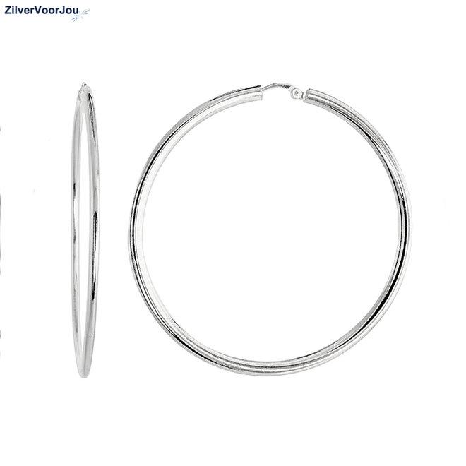 Zilveren scharnier oorringen 55 mm vlakke buis
