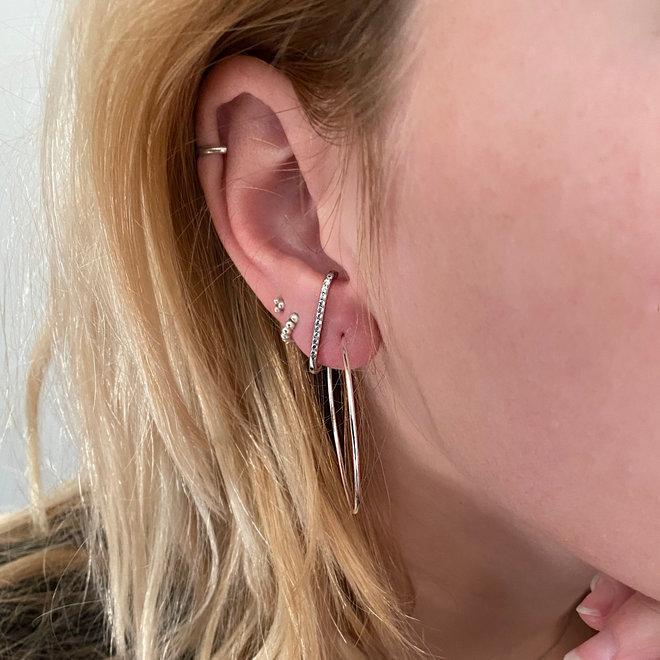 Zilveren creolen oorringen groot 40 mm 1 mm breed