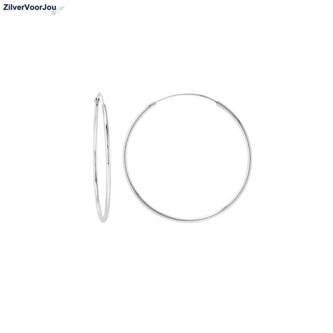 Zilveren creolen oorringen groot 30 mm 1 mm breed