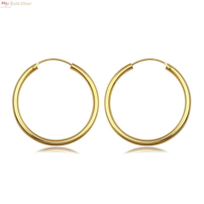 Gouden oorringen ronde buis 40 x 3 mm