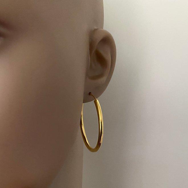 925 zilveren geel goud vergulde oorringen 40 x 3 mm