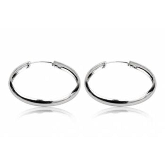 Zilveren brede oorringen 50 mm
