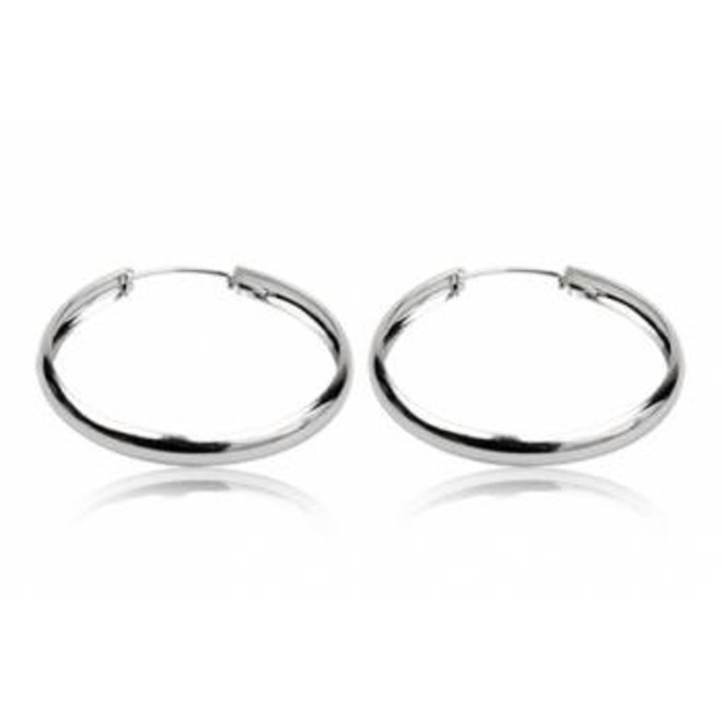 Zilveren oorringen 50 mm en 4.5 mm breed