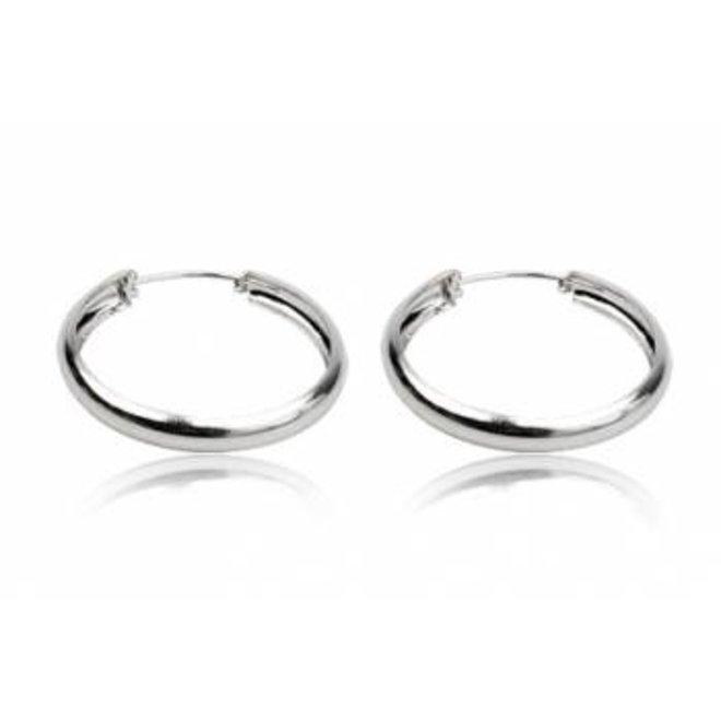 Zilveren brede oorringen 40 mm