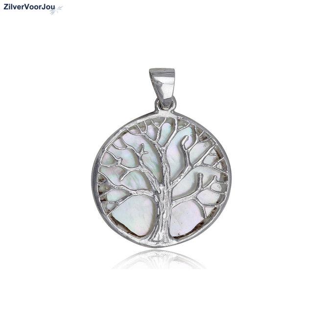Zilveren parelmoer levensboom, tree of life kettinghanger