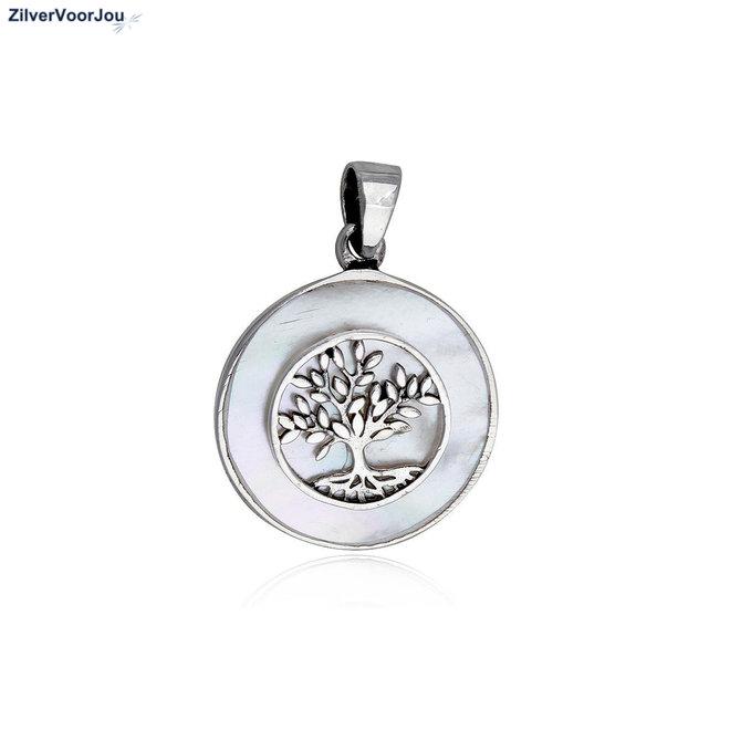Zilveren levensboom parelmoer kettinghanger