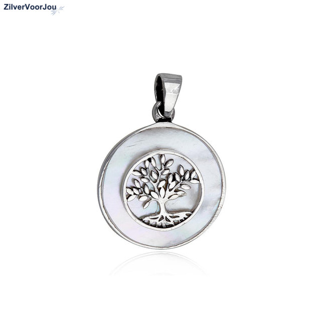 Zilveren levensboom parelmoer, tree of life kettinghanger