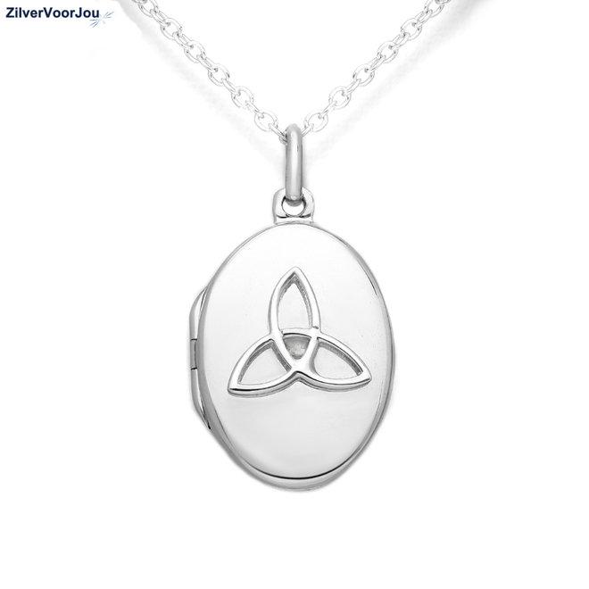 Zilveren Keltisch trinity ovaal medaillon
