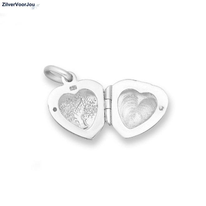 Zilveren levensboom hart medaillon