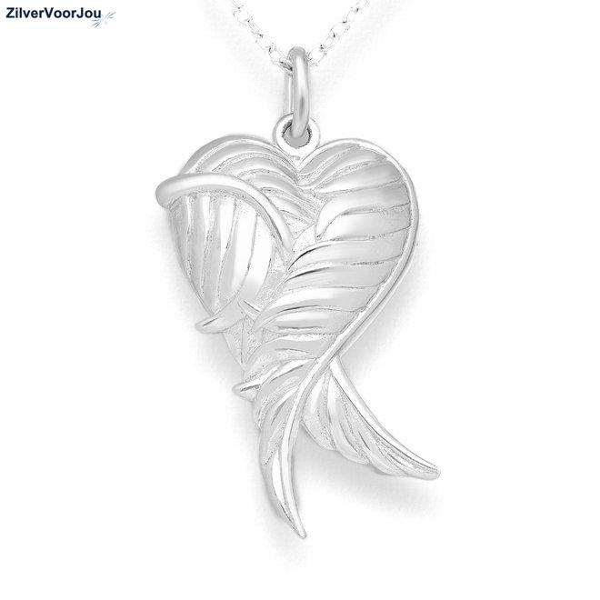 Zilveren angel wing medaillon kettinghanger