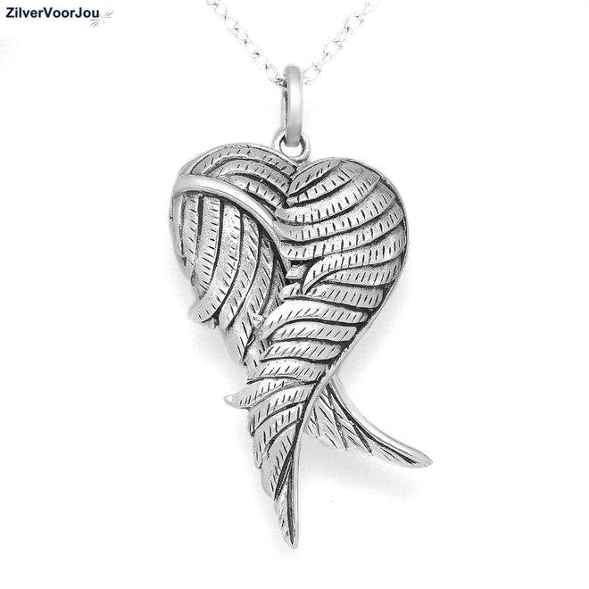 Zilveren medaillon angel wings kettinghanger
