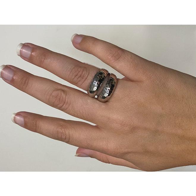 Zilveren grote boho ring