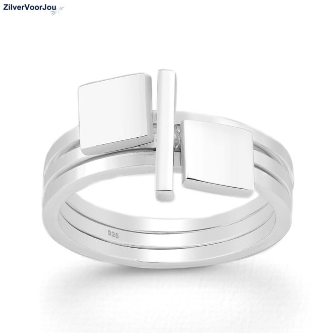 Zilveren square bar 3 delige ring