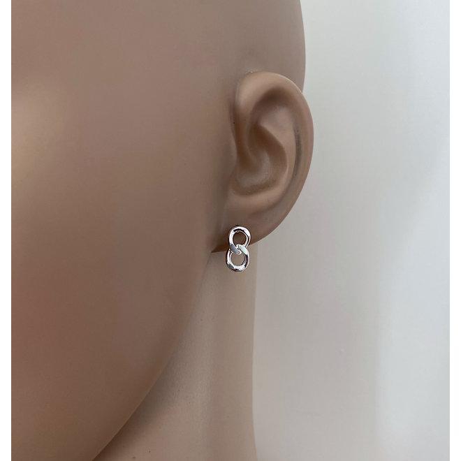 Zilveren dubbele gourmet schakel oorstekers