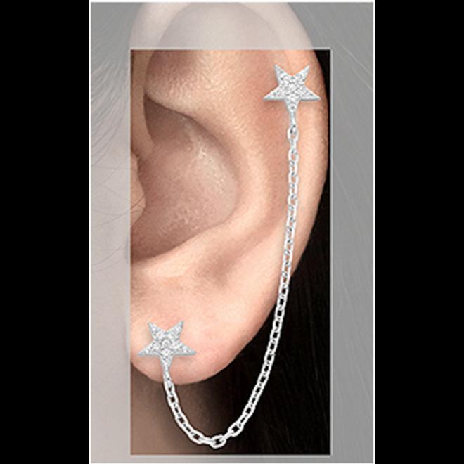 Zilveren duo oorstekers ster