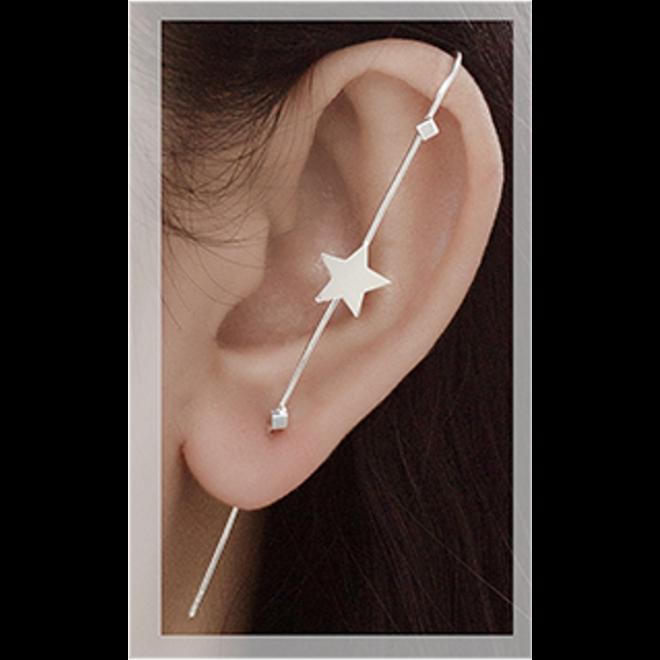 Zilveren grote cuff oorsteker ster