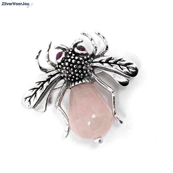 Zilveren Bee broche roze quarts