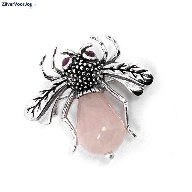 925 Zilveren Bij broche roze quarts