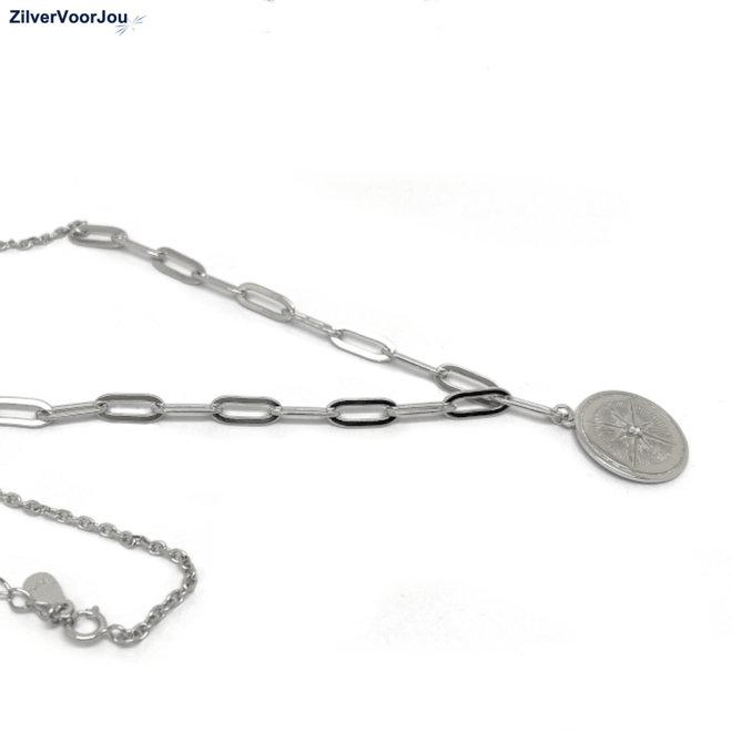 Zilveren vintage kompas schakelketting