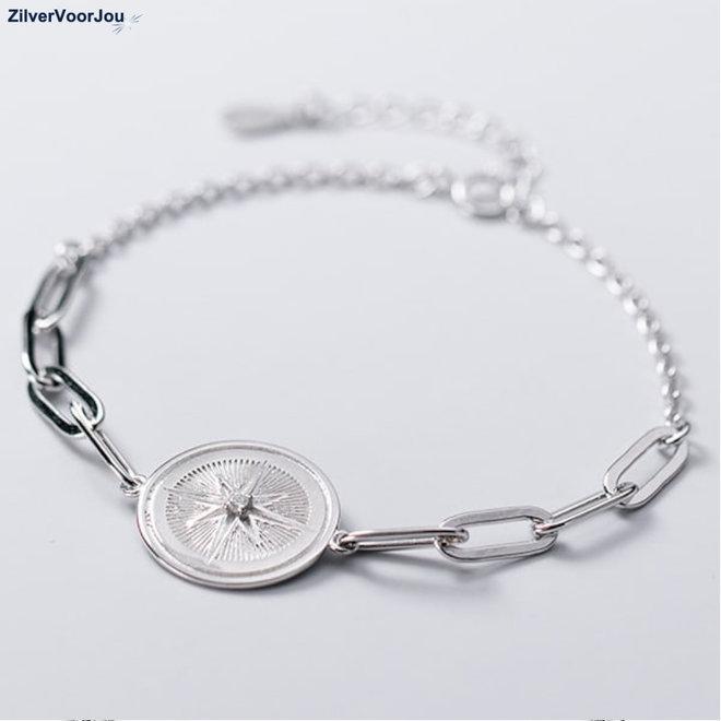Zilveren kompas windroos schakelarmband