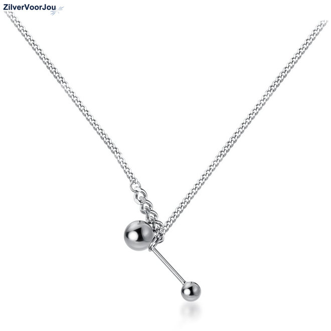 Zilveren beads retro choker ketting