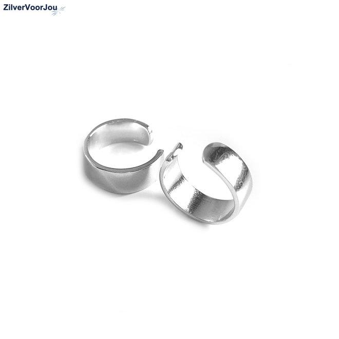 Zilveren hoogglans ear cuffs 5 mm