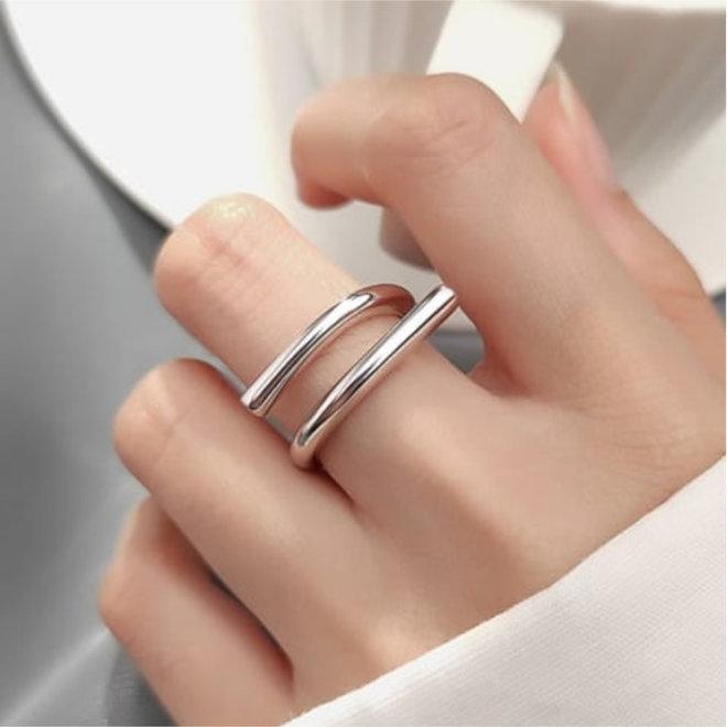 Zilveren open staaf design ring