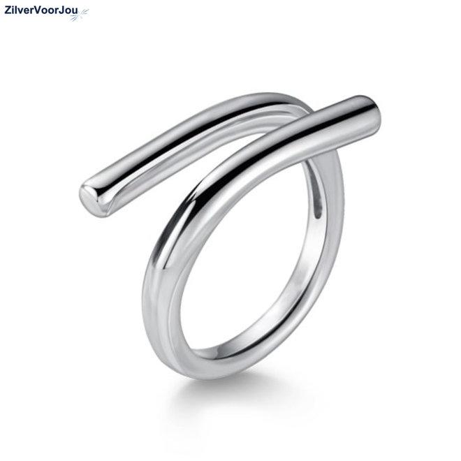 Zilveren open staaf ring