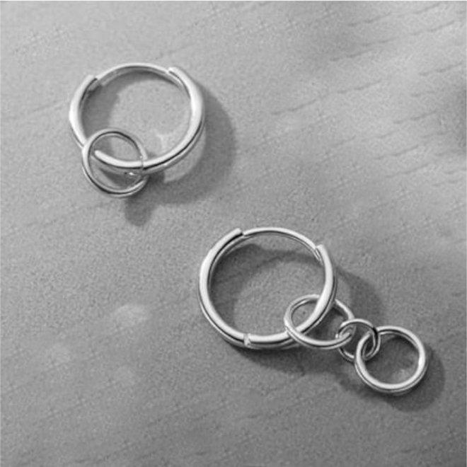 Zilveren circles huggie hoops