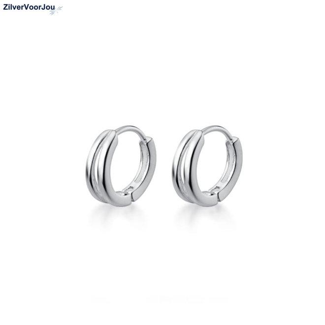 Zilveren 2 lijnen huggie hoops