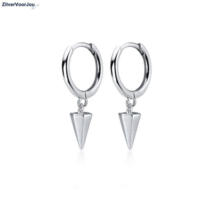 Zilveren cone huggie hoops