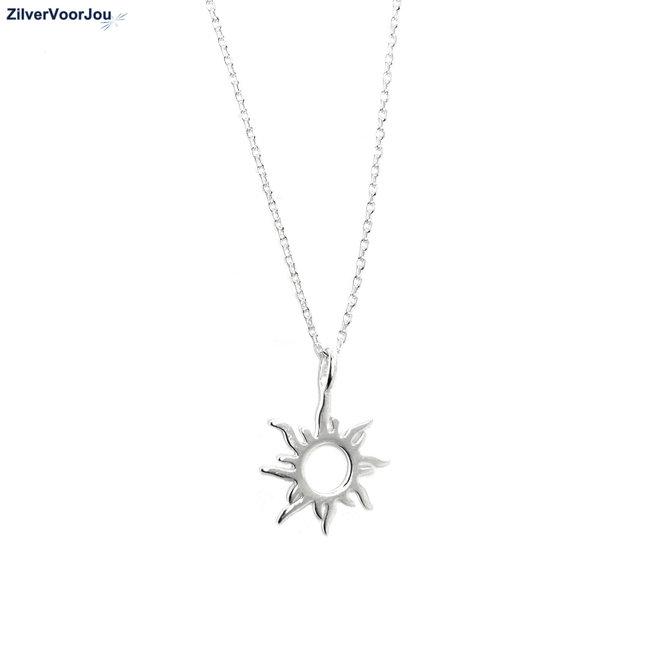 Zilveren zon ketting