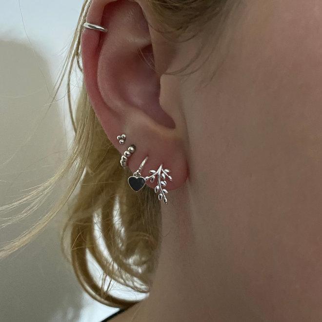 Zilveren kleine puffy takjes oorhangers