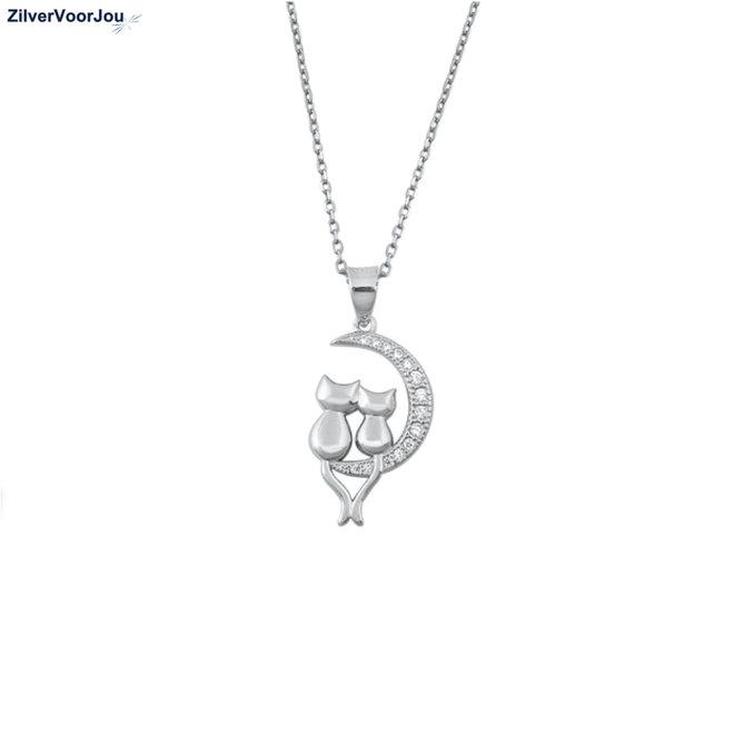 Zilveren 2 poezen in halve maan ketting