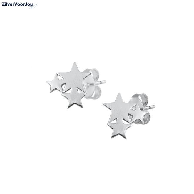 Zilveren  3 sterretjes oorbellen