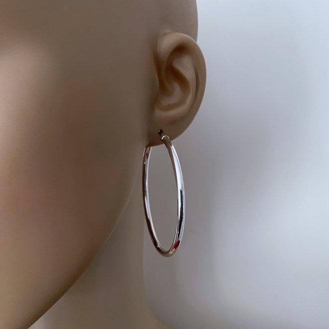 Zilveren oorringen diameter 54 mm en 3 mm ronde buis