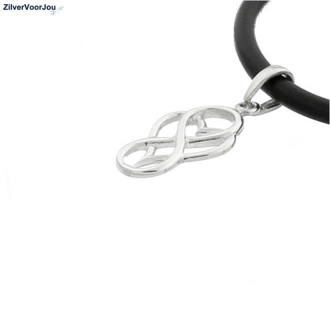 Zilveren infinity hart tribal kettinghanger