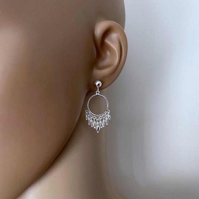 Zilveren bohemian oorhangers studs