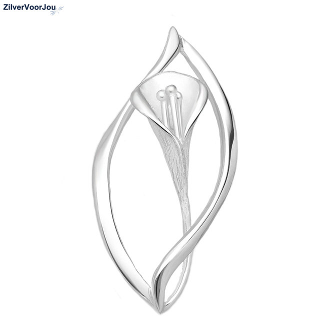 Zilveren design bloem kettinghanger