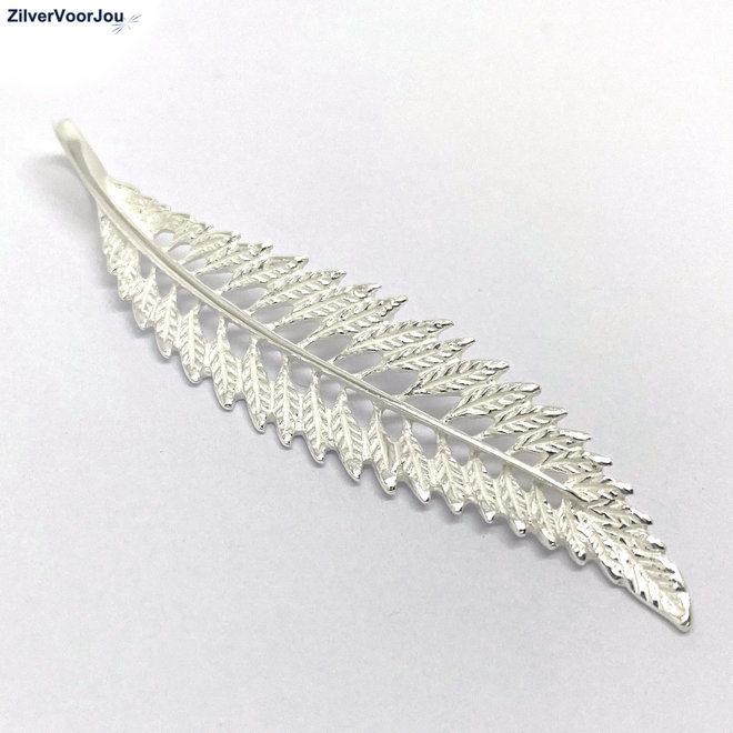 Zilveren lange blad kettinghanger
