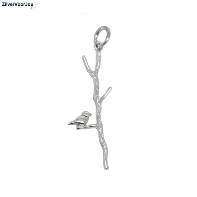 Zilveren vogel op takje kettinghanger