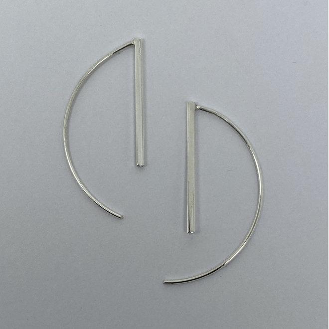 Zilveren simplicity staaf oorhangers