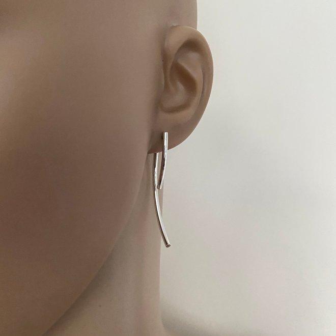 Zilveren jacket curved oorbellen