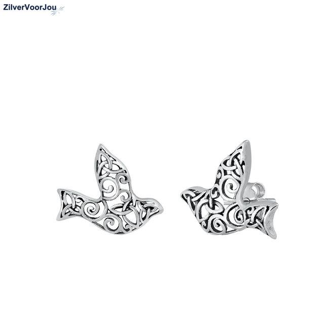 Zilveren filigree mus vogel oorstekers