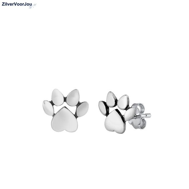Zilveren hond pootafdruk oorstekers