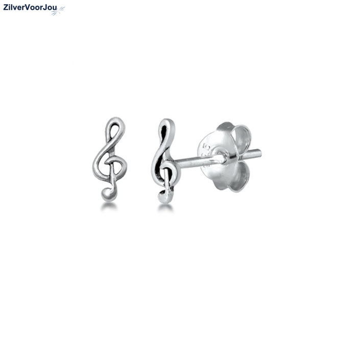 Zilveren mini muziek noot vioolsleutel oorstekers