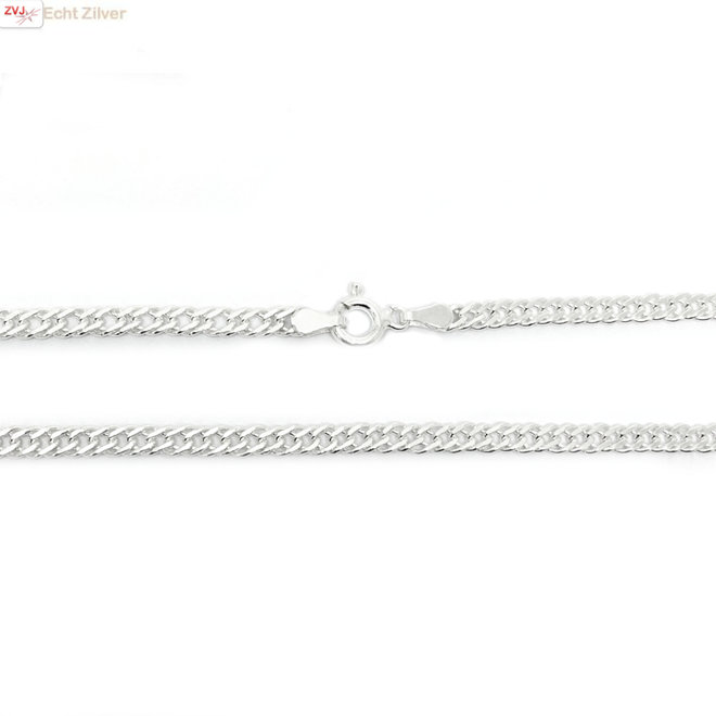 Zilveren 40 cm dubbele gourmet schakel ketting 3.5 mm breed