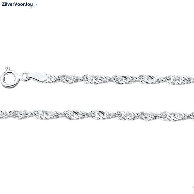 Zilveren Singapore schakel ketting 40 cm en 2.2 mm