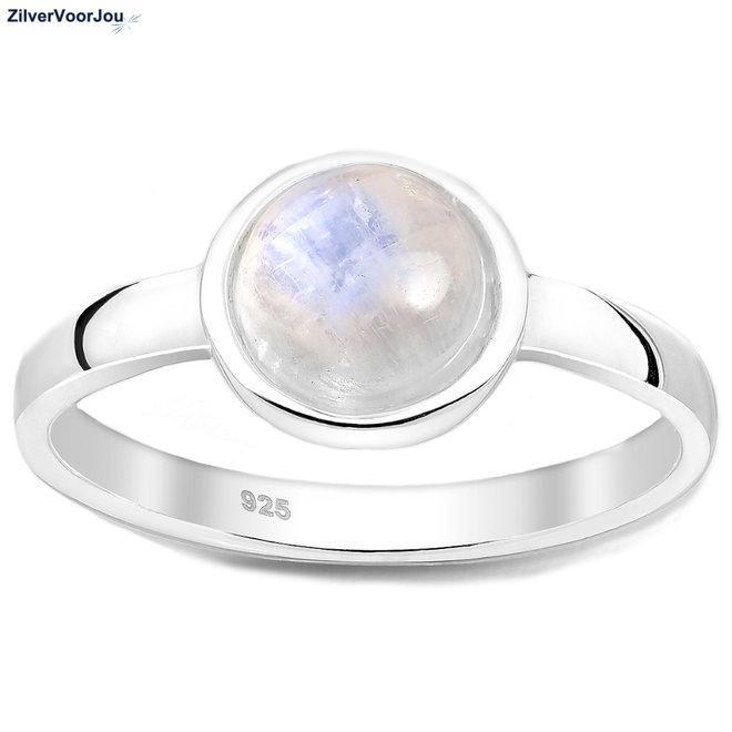 Zilveren ronde maansteen ring