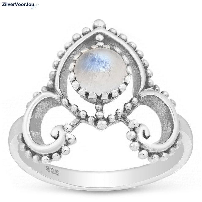 Zilveren crown maansteen ring
